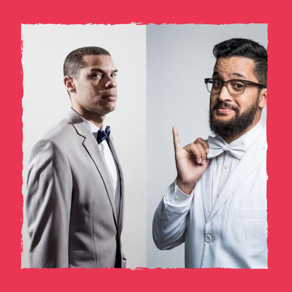 Portraits of Richelieu Beaunoir and Yaaseen Barnes dressed in suits and bow ties